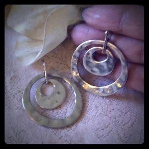 Vintage Hammered Metal Hoop Dangle Earrings